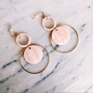 Jewelry - Pink Acrylic Earrings with Hoop Detail